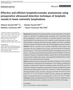 WILEY Research article page Effective and efficient lymphaticovenular anastomosis using preoperative ultrasound detection technique of lymphatic vessels in lower extremity lymphedema