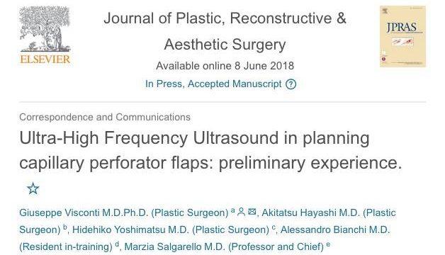 論文写真: Ultra-high frequency ultrasound in planning capillary perforator flaps