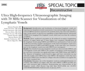 """Ultra High-frequency Ultrasonographic Imaging with 70 MHz Scanner for Visualization of the Lymphatic Vessels"" 論文が出版"
